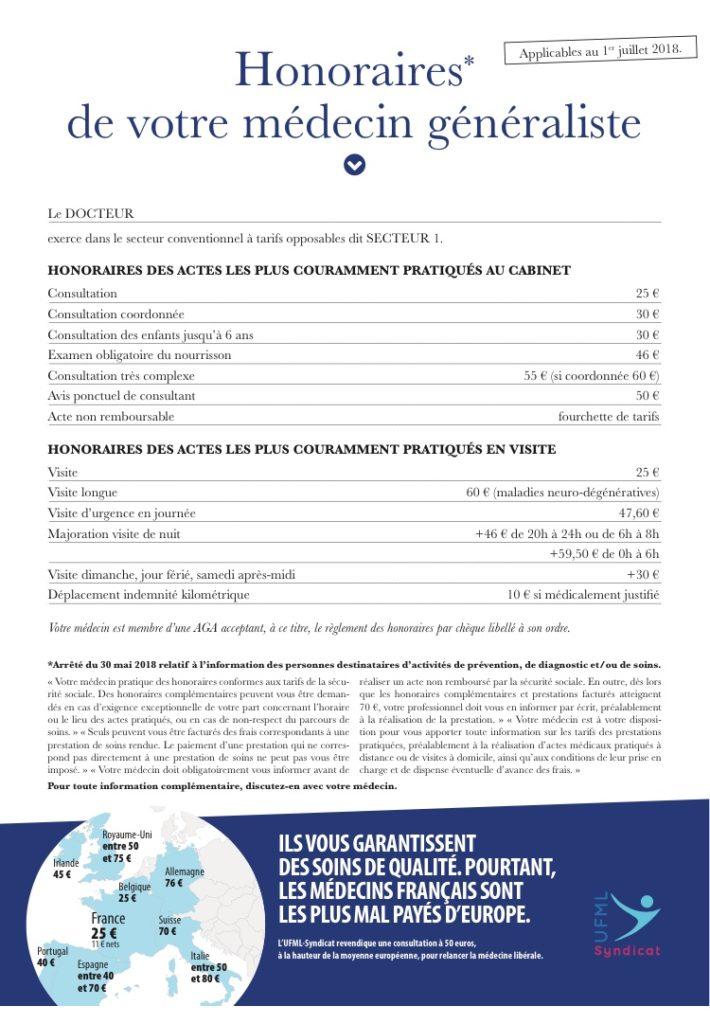 Affiche obligatoire des honoraires, oui mais UFML-S va plus loin et affiche les autres pays européens !