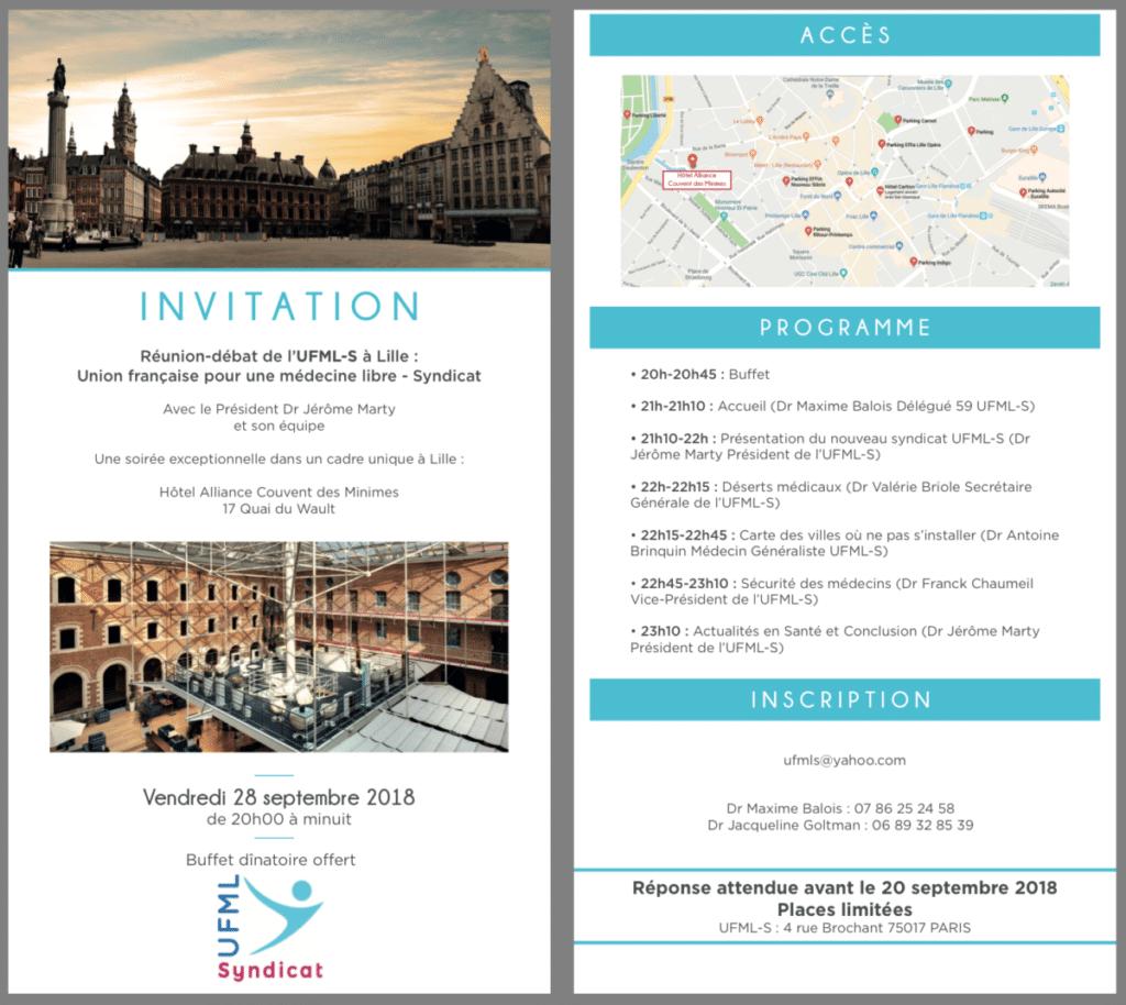 UFML-Syndicat vient à votre rencontre: Lille vendredi 28 septembre 2018