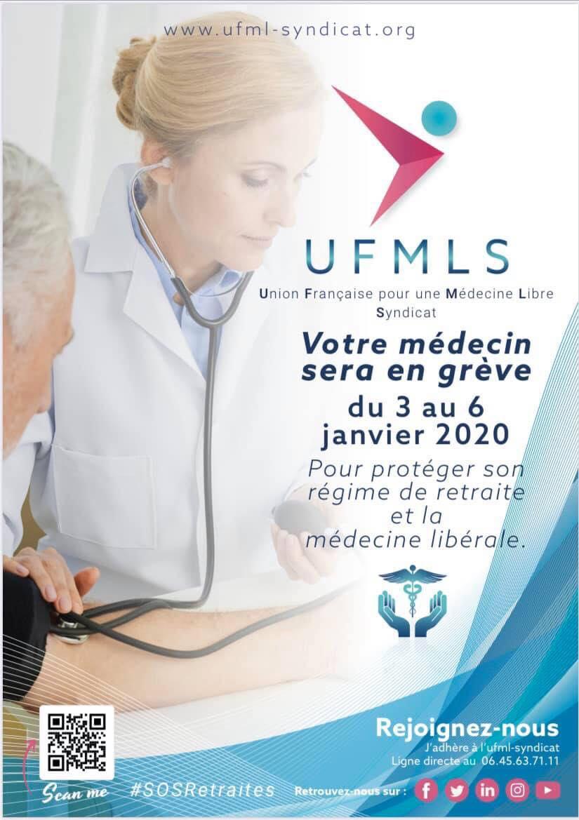 SOS retraite, grève du 03 au 06 janvier : affiches pour vos patients