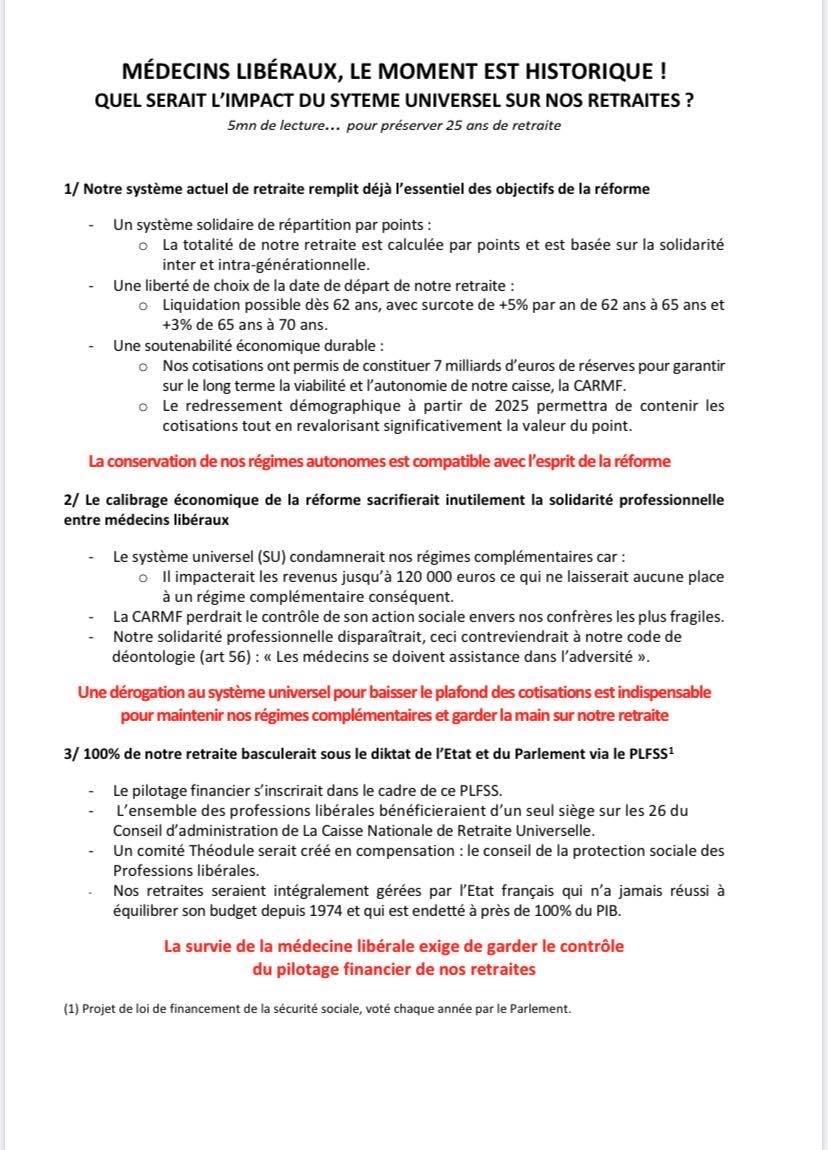 L'UFML-S dénonce l'impact de la réforme des retraites pour les médecins libéraux .
