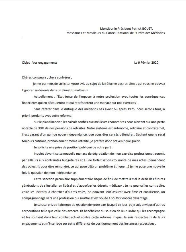 Lettre ouverte au Président du Conseil National de l'Ordre face à sa passivité dans la gestion de la Réforme des Retraites