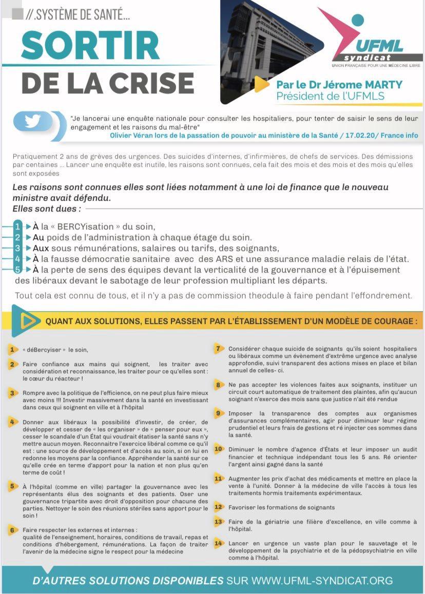 Système de santé: l'ordonnance d'UFML-S à Olivier Véran pour sortir de la crise