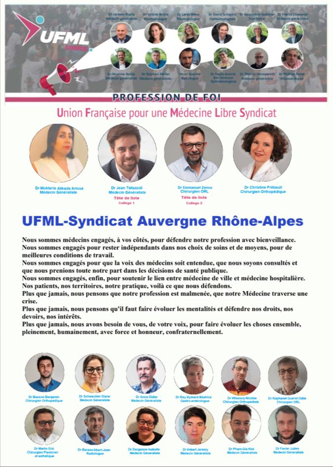 Profession de Foi Auvergne Rhone Alpes UFMLS URPS 2021