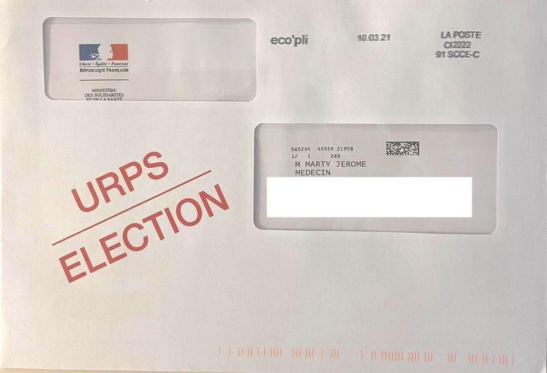 Repérez dans votre courrier l'enveloppe URPS ELECTION