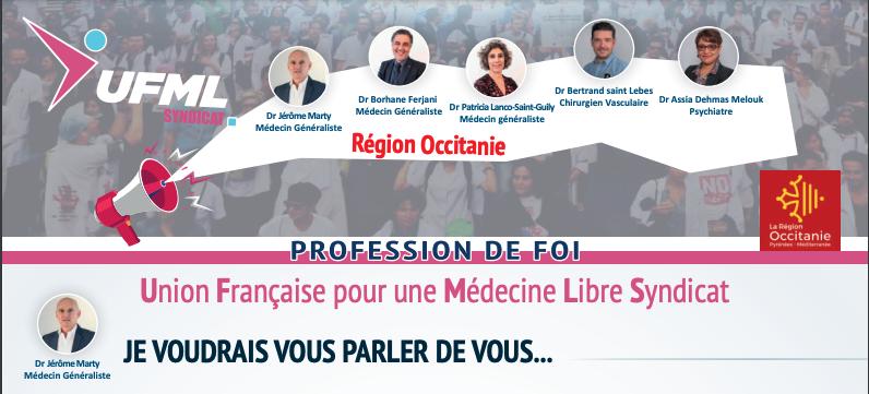 Profession de foi 1 Occitanie URPS 2021 UFMLS
