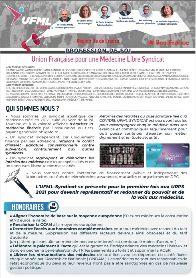 Profession de Foi UFMLS Ile de France URPS 2021